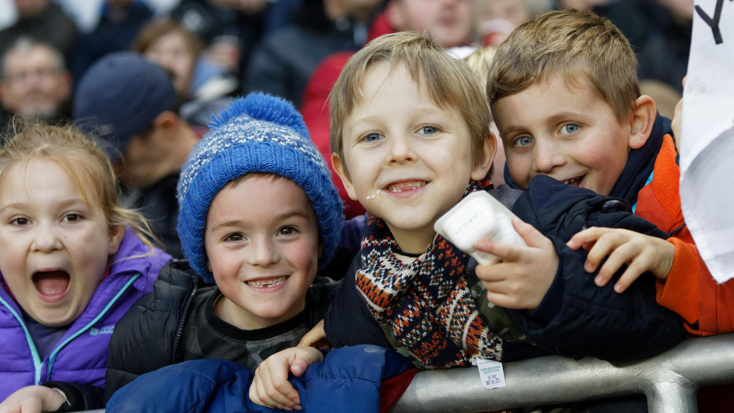 Young Swansea City supporters.